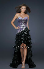 ROCK THE CARPET! BLACK & PURPLE BEADED FORMAL/EVENING/PROM HIGH-LOW HEM AU22US20