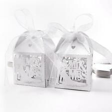 50pcs Bride Groom Mr Mrs Laser Cut Wedding Party Cake Candy Favour Gifts Box
