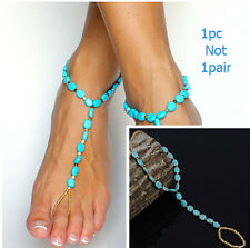 Sexy  Yoga Dance Beach Barefoot Sandals Turquoise Beads Foot Ankle Bracelet