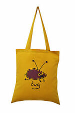 NEW TOTE BAG: BUG, Mustard, 100% cotton
