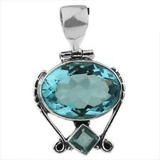 STUNNING BLUE TOPAZ GEMSTONE 925 STERLING SILVER NECKLACE PENDANT Length 1 3/8""