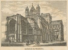 C8669 England - Winchester - Cathedral - Stampa antica - 1892 Engraving