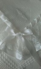 beautiful IVORY baby christening shawl