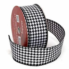 """Premium Wired Woven 2.5"""" Ribbon Houndstooth w/ Black Edge - 2 pk. 50 yds. each"""