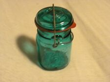 Ball Ideal Blue Green Mason Glass Jar with Wire Top and Bicentennial Eagle