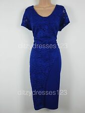 BNWT So Fabulous Cobalt Blue Lace Wrap Effect Pencil Dress Size 16 RRP £57
