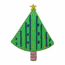 ID 8166B Christmas Tree Holiday Decor Design Embroidered Iron On Applique Patch