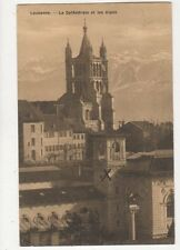 Lausanne Cathedrale & Les Alpes 1909 Postcard Switzerland 389a