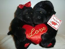 ADORABLE RED LOVE MONKEY HUGGING LOVERS VALENTINE RED HEART STUFFED ANIMAL (D)