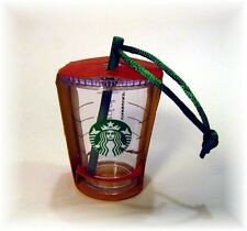 STARBUCKS 2014 TO GO COLD CUP TUMBLER WITH STRAW CHRISTMAS ORNAMENT NWT