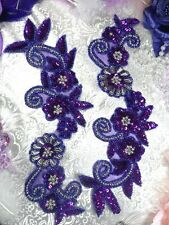 0183 Purple Silver Floral Mirror Pair Beaded Sequin Appliques Patch MOTIF :)