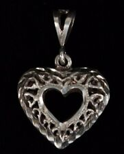 NF 925 Sterling Silver Filigree Heart Pendant 2.82g Very Nice