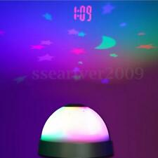 Digital LED Desk Night Light Alarm Clock Star Moon Time Projector Kids Bedroom