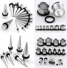 Bulk Lots Stainless Steel Silvery Taper Stretching Plug Ear Tunnel Kit Expander