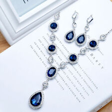 Fashion Pear Shape Womens Sapphire Necklace Stud Jewelry Set Wedding Prom Party