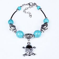 Skull Turquoise Blue Stone Spacer Dangle Owl Bird Bracelet hot sell women