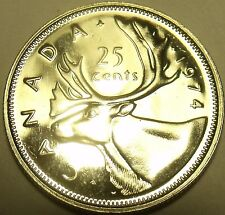 Proof Canada 1974 25 Cents~Elizabeth II~Caribou~213,589 Minted~Free Shipping
