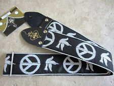 D'Andrea ACE VINTAGE REISSUE Guitar Strap PEACE DOVE BLACK Woven Neil Young
