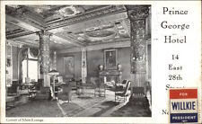 New York City Prince George Hotel - Willkie For President Stamp Postcard