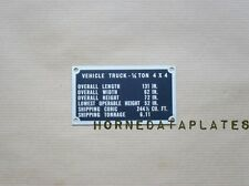 SHIPPING PLATE FORD GPW JEEP DATA PLATE MB TAG