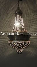 Handcrafted Silver Plated Brass Moroccan Hanging Lamp Lantern Light