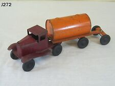 VINTAGE ANTIQUE GIRARD PRESSED STEEL METAL TOY TRUCK TRACTOR TRAILER TANKER RARE