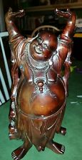 "Chinese antique carved solid wood lucky Buddha statue,  12""  hands empty as is"