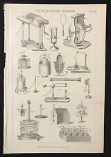 Antique book print 1883, ELECTRICITY, ELECTRO MAGNETISM