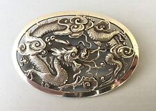 Ancienne belle broche en argent massif chinois, silver chinese export dragon