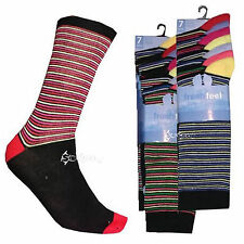 7 Pairs Mens Stripey Colour Heel and Toe Socks Shoe Size 6-11 Stripes Design
