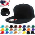 Plain Fitted Flat Bill Visor Baseball Cap Basic New Blank Solid Hat - 23 COLORS
