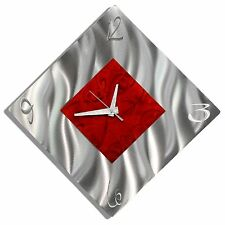 Modern Red/Silver Metal Wall Clock, Contemporary Metal Wall Art by Jon Allen