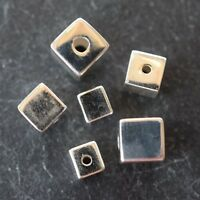 STERLING SILVER 925 (STS) CUBE BEADS *4MM, 5MM & 6MM *JEWELLERY MAKING