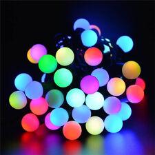 LED Kugeln Lichterkette Weihnachten Bunt LED Kette Außen Garten Deko Leuchte