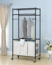 New Bronze 2-Tier Rolling Clothing Garment Rack Shelving Wire Shelf Dress G
