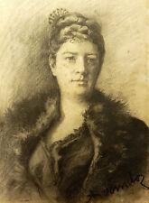Adolf Karol Sandoz(1845-) Fusain original Odessa Russian Polski RUSSE POLOGNE
