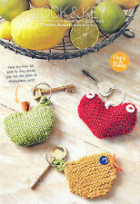 KNITTING PATTERN KEY RINGS APPLE BIRD HEART QUICK EASY DK SKM AUA