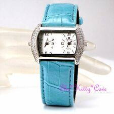 Designer Turquoise Silver Dual Dial Twin Time Zone Watch w/ Swarovski Crystals