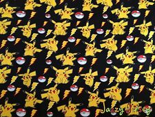 Pikachu Pokemon Fleece Backed Sweatshirting Jersey Knit Fabric