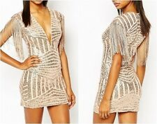 Rare London Plunge Neck Bodycon Dress Panelled Sequin Rose Gold UK 14 (ca19.1)