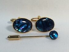Blue Abalone Cufflinks with matching Cravat/Tie Pin, Gold finish.