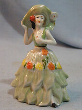 Antique German Sitzendorf Porcelain Perfume Bottle Lady Leaf Dress Marked Crn S