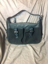 longchamp Turquoise Velvet Leather Bag Double Front Pocket Rare EUC Messenger