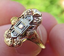 14K RING O ROMANCE VINTAGE ANTIQUE ART DECO FLORAL 3 DIAMOND ENGAGEMENT RING