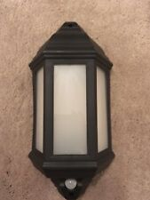 LED Half Lantern Outdoor Wall Light with PIR - Black