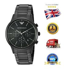 NEW Emporio Armani AR2485 Men's Black Stainless Steel Chronograph Quartz Watch
