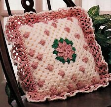 PRETTY Granny Rose Pillow/Decor/Crochet Pattern INSTRUCTIONS ONLY