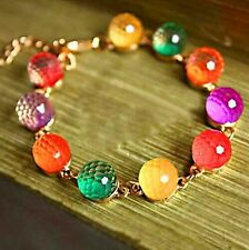 #3007 Women Colorful Candy Beads Golden Tone Crystal Chain Bangle Cuff Bracelet