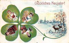 BG8613 clover cerf deer types  neujahr new year greetings germany