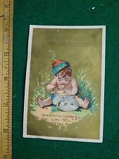 1870s-80s C & H Warner Fine Job Printers Cherub w/ Pot of Food Trade Card F36